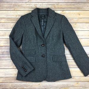J Crew Wool Herringbone Hacking Jacket Blazer